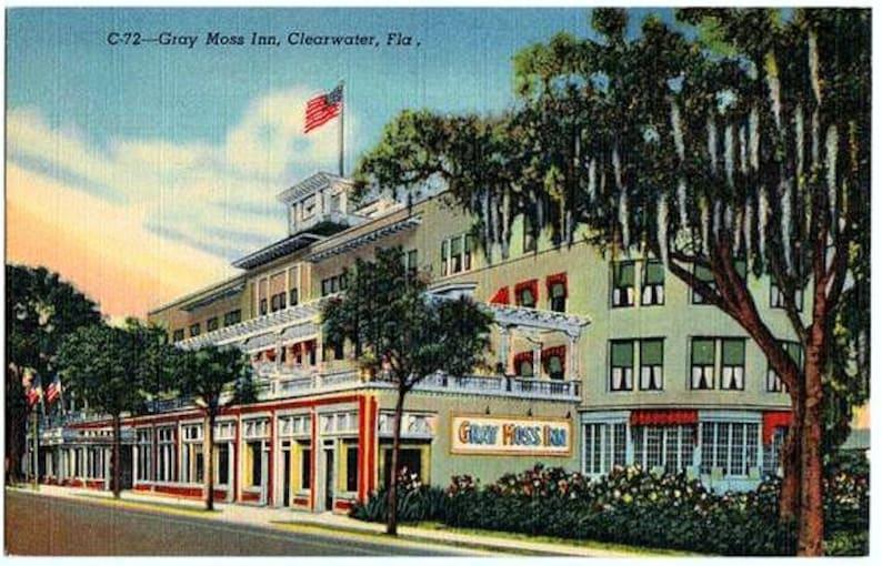 Vintage Florida Postcard The Gray Moss Inn Clearwater Unused