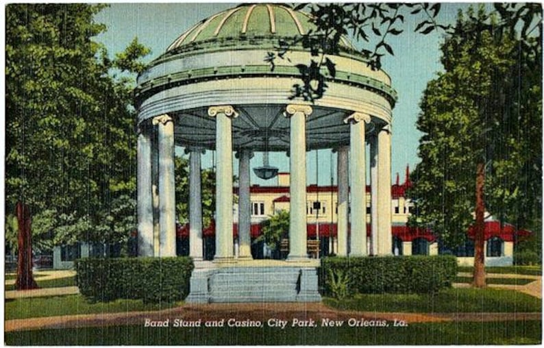 Vintage New Orleans Postcard - Bandstand and Casino in City Park (Unused)
