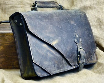 Leather Briefcase,  Anniversary Gift for Husband, Men's Satchel, Carryon Luggage Messenger Bag, Work Bag, Laptop Bag,