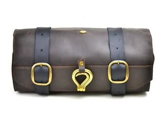 aa2ccc27c32e Leather Shaving Kit - Men s Leather Toiletry Roll - Military Wet Pack  Shaving Bag - Travel Bag for Shaving