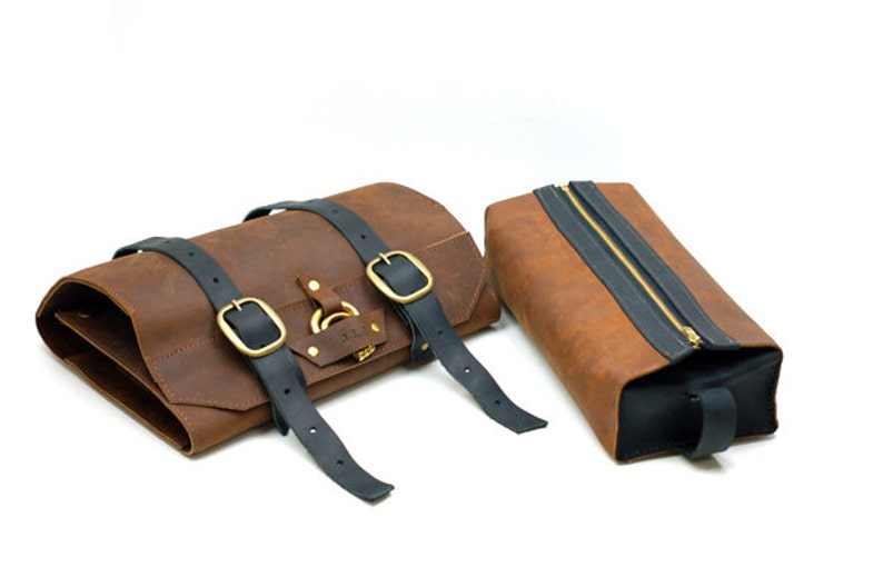 34970851b640 Leather Toiletry Roll Men s Leather Shaving Kit Wet