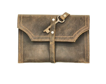 Distressed Leather Clutch - Mini Clutch Wallet - Brown Leather Purse with Skeleton Key Hardware