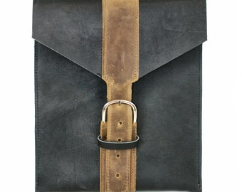 Leather iPad Case - Black Leather iPad Sleeve - leather tablet case gadget protector Protective iPad Case