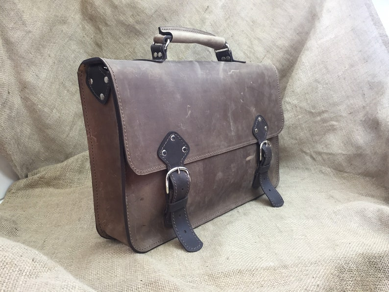 Large Men/'s Leather Satchel Industrial Briefcase Carryall in Brown