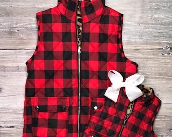 Girls Monogrammed Buffalo Plaid Zipper Vest With Pockets