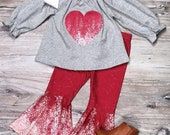 Toddler, Girl 39 s Valentine 39 s Day Winter Boutique Bell Outfit, Piece Of My Heart Bell Bottom Girls Outfit, Girl 39 s 18 Months 2T 3T 4T 5 6 7 8