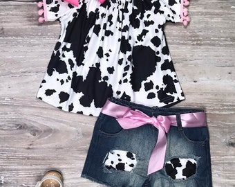 Toddler, Girl's Summer Boutique Cow Pom Pom Denim Shorts Outfit, Girly Pink Cow Pom Denim Patch Girls Shorts Outfit, 2T 3T 4T 5 6 7 8 10
