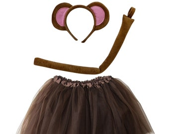 59859fbc9c Monkey Brown Tutu Costume for Toddler, Girl, Kid, Teen, Adult, Plus Sizes;  Skirt, Tail & Headband Complete Halloween Costume Zoo Outfit
