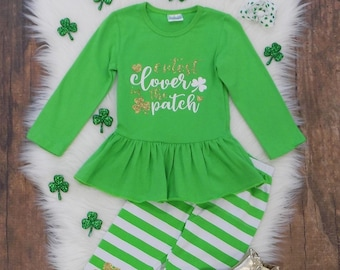 b590017797a0d3 Toddler, Girls St. Patrick's Day Cutest Clover Ruffle Top Knee Patch Shamrock  Leggings Holiday Outfit So Sydney 18 Months 2T 3T 4T 5 6 7 8