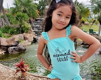 90d5ba71d Mermaid Squad Mint - So Sydney Swim Girls  One Piece Flutter Adjustable Swimsuit  Bathing Suit