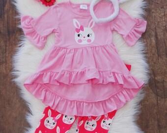 128b6e63ca5 Toddler Bunny Bow Pink Tunic Hi Lo   Hot Pink Bunny Capri Pants