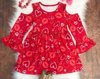 8bd076eb0 Toddler, Girls Valentine's Day Hearts & Kisses Cold Shoulder Flare Dress by So  Sydney 18 Months 2T 3T 4T 5 6 7 8