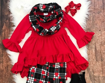 4eeee01e5 Toddler, Girls Valentine's Day Red Plaid Heart Hi-Lo Ruffle Tunic Infinity  Scarf Outfit Winter by So Sydney 12-18 Months 2T 3T 4T 5 6 7 8