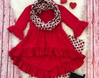 394f4f0ce Toddler, Girls Valentine's Day Heart Arrows Hi-Lo Tunic Infinity Scarf  Outfit by So Sydney 12-18 Months 2T 3T 4T 5 6 7 8