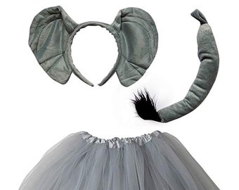 ff57348483 Elephant Tutu Costume for Toddler, Girls, Kids, Teen, Adult, Plus Size; Tutu  Skirt, Tail, & Ears Complete Halloween Costume or Party Outfit
