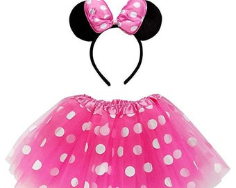 f43764fe5 Minnie Pink Polka Dot Tutu Costume for Toddler, Girls, Kids, Teen, Adult,  Plus Size; Tutu Skirt & Ears Complete Disney Costume Party Outfit