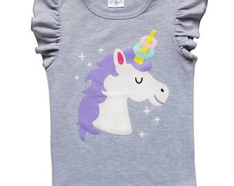 9e34cb29f9b9 Gray Unicorn Donut Horn Flutter Sleeve Tee - So Sydney Toddler   Girls  Ruffle Sleeve Baseball Style Raglan T-Shirt 2T
