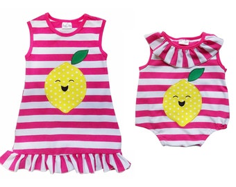 90ef323be Lemon Hot Pink Stripe Sister & Me -Tank Ruffle Dress or Baby Toddler Romper  Girls Spring or Summer Matching Outfits 2T 3T 4T 5 6 12 18 24 Mo