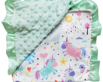 751e348715 Playful Pastel Unicorn on Mint Green - Reversible Soft Textured Minky Dot  Baby Infant Blanket With Satin Trim by So Sydney Baby Toddler