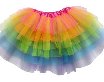130c4113d6e Neon Rainbow - 6 Layer TUTU SKIRT - Kid