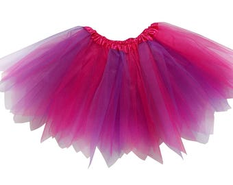 e64ae4e84 Hot Pink & Purple - 3 Layer Pixie Angle Cut Tutu Skirt - Kid, Adult, or  Plus Size - Halloween Costume Accessory, Dance, Dress Up, 5K, Party