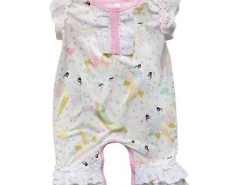 42242e26a Magic Pastel Unicorn Lace Flutter Sleeve Snap Crotch Stretch Cotton Romper,  Infant, Baby Toddler Bodysuit Summer Sunsuit 3 6 12 18 24 Months