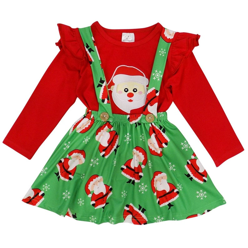 Toddler or Girls Christmas Red /& Green Santa Claus Suspender Skirt Set Winter Holiday Stretch Cotton Outfit Dress So Sydney 2T 3T 4T 5 6 7