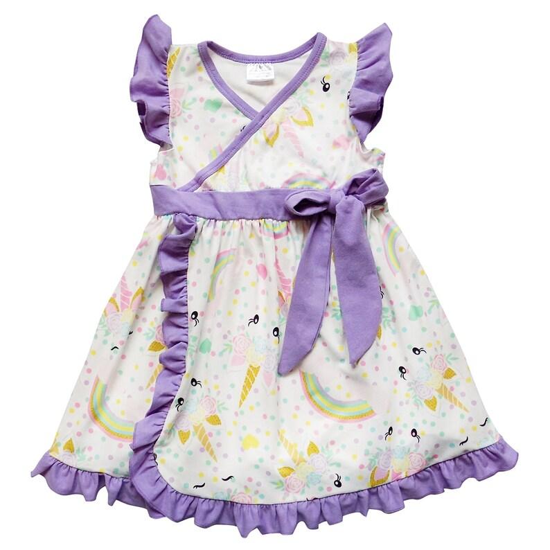 1da469d10 Pastel Unicorn & Lavender Wrap Style Flutter Sleeve Tank Dress | Etsy