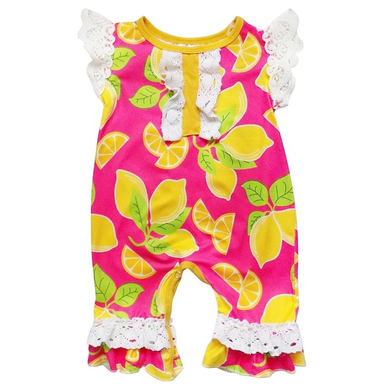 305dda41bbd Lemon Squeeze Lace Flutter Sleeve Snap Crotch Stretch Cotton