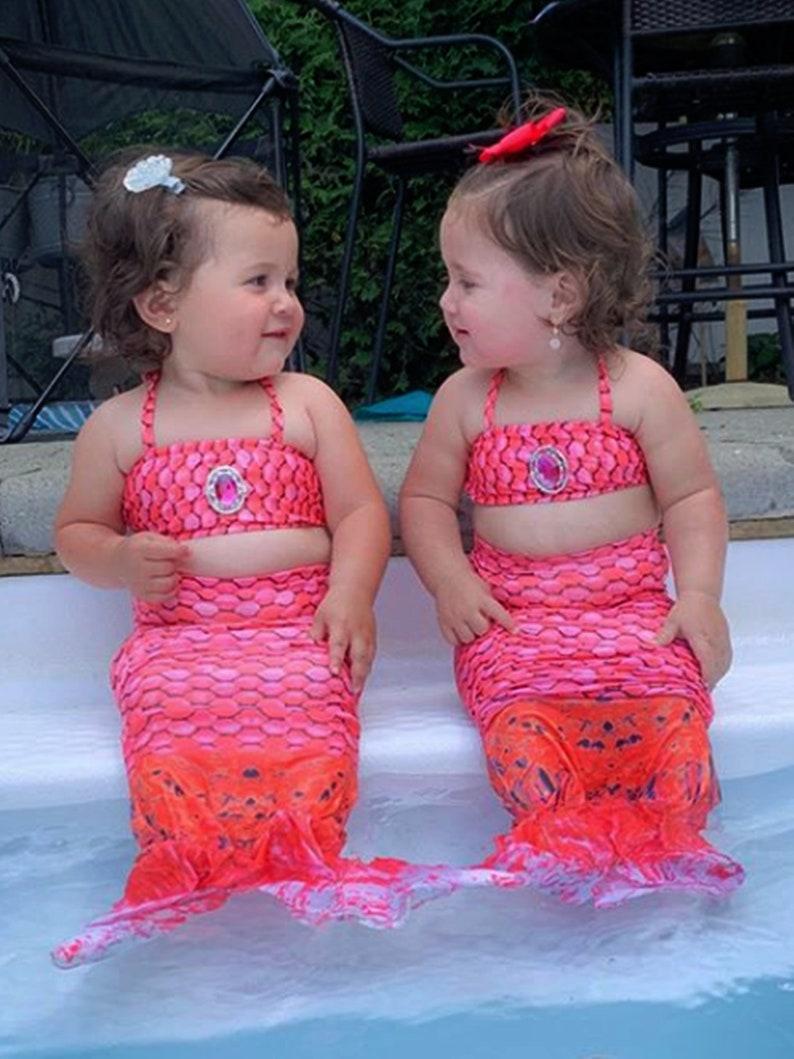 Pool Bikini Girl/'s Hot Pink Scale Mermaid Tail Swim 3 Piece Set Halter Mermaid Pattern Swimsuit Bathing Suit Beach 12 18 Month 2T 3T 45