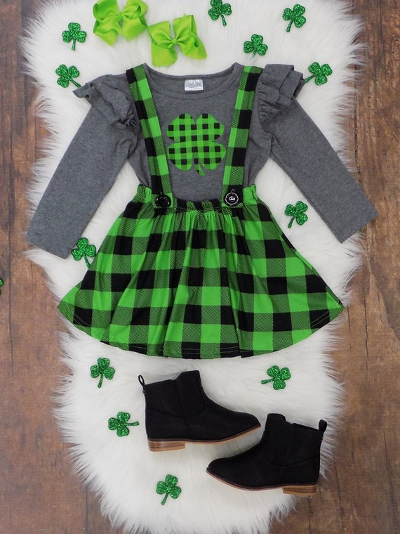 a8ec763d8 Toddler Girls St Patrick's Day Buffalo Plaid Lime Green   Etsy