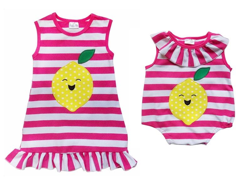 9c355714b970 Lemon Hot Pink Stripe Sister   Me Tank Ruffle Dress or Baby