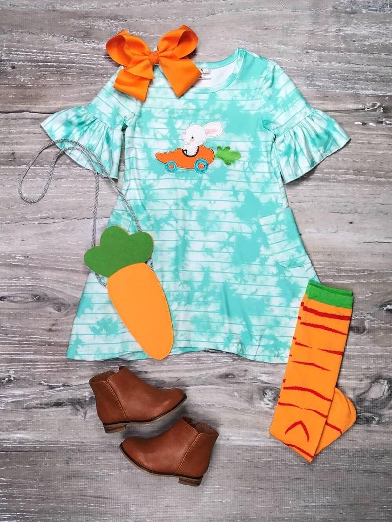 Bunny Races Carrot Car Blue Tie Dye Girl Easter Dress Set Girl/'s Easter Boutique Bunny Dress Set 12 18 Months 2T 3T 4T 5 6 7 8 10 Toddler