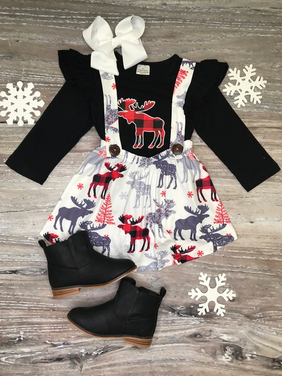 Girls boutique outfit Buffalo plaid Holiday Christmas 3T 5T soft Moose red black