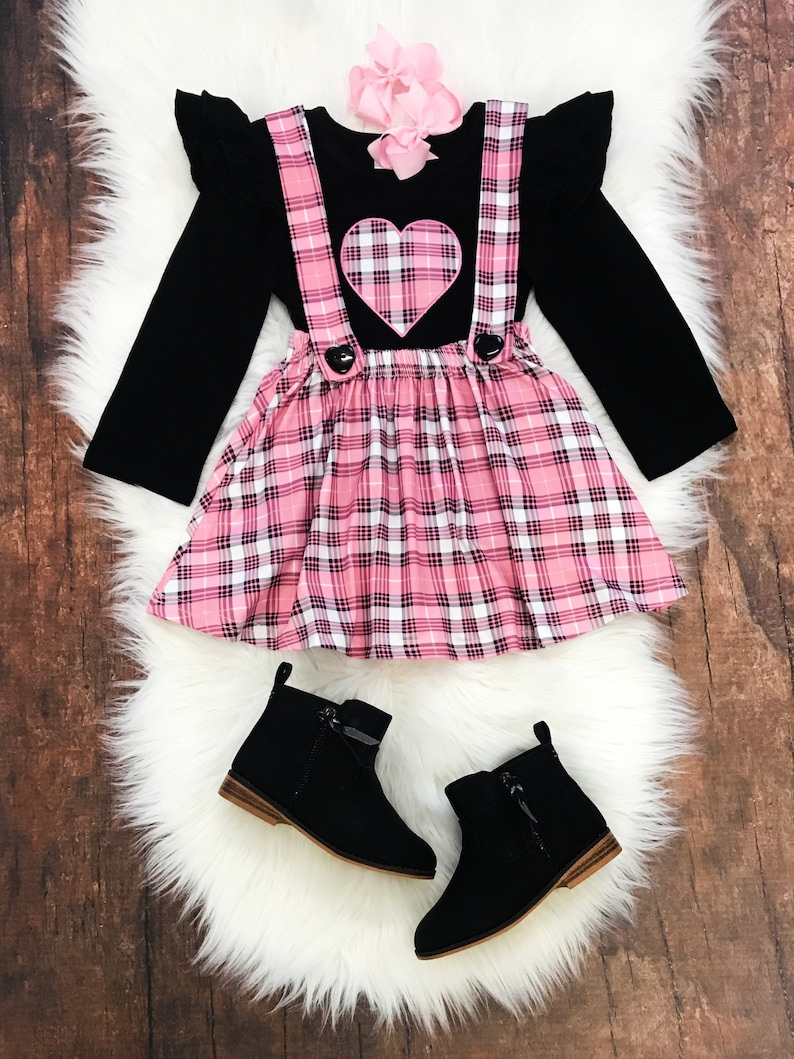 46e0fab36 Toddler or Girls Valentine's Day Pink Plaid Suspender   Etsy