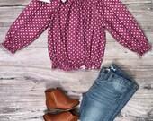 Toddler, Girls Fall Boutique Purple Polka Dot Long Sleeve Shirt, Purple Polka Dot On Off Shoulder Top, 12 18 Months 2T 3T 4T 5 6 7 8 10 12