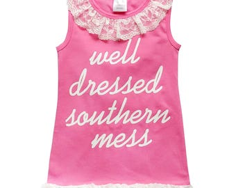 Well Dressed Southern Mess - Hot Pink & Ivory Lace Cotton Tank Dress - Toddler Girls Stretch Cotton Boho Beach Spring Summer Beach Vacation