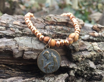St Francis of Assisi Stretchy Rosary Bracelt - Copper and Holy Land Olive Wood