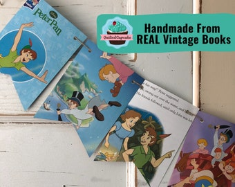 Peter Pan Book Page Banner / Peter Pan Disney Story Book Page Garland /12 Bunting Pennants for Baby Shower, Birthday Party / READY to SHIP