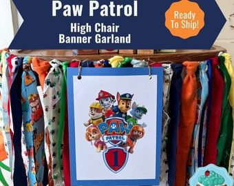 Paw Patrol High Chair Banner /Paw Patrol Birthday Party Supplies // PawPatrol High Chair Decoration/Smash Cake Banner/ READY To SHIP!