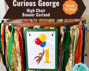 Curious George High Chair Banner / Curious George Birthday Party / Curious George High Chair Decoration/Smash Cake Banner READY To SHIP
