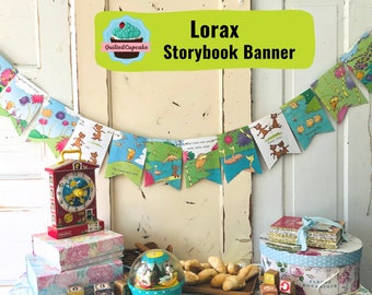 Lorax Book Page Banner / Lorax Dr. Seuss Story Book Page Garland /12 Bunting Pennants for Baby Shower, Birthday Party / READY to SHIP