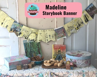 Madeline Book Page Banner.  Handmade Children's Story Book Page Garland.  12 Bunting Pennants for Baby Shower, Birthday Party READY to SHIP