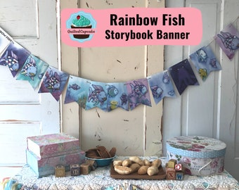 Rainbow Fish Book Page Banner.  Children's Story Book Page Garland.  12 Rainbow Fish Pennants for Baby Shower, Birthday Party READY to SHIP