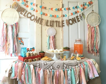 Welcome Little One Banner Baby Shower Decoration. Boho Modern | Etsy