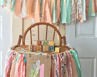 First Birthday Party Decoration Girls High Chair Garland Boho Baby Banner With Burlap Flag Coral And Mint