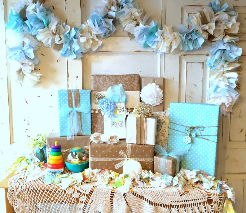 Burlap and blue Baby Shower Party Decoration 6-10 foot fabric image 0
