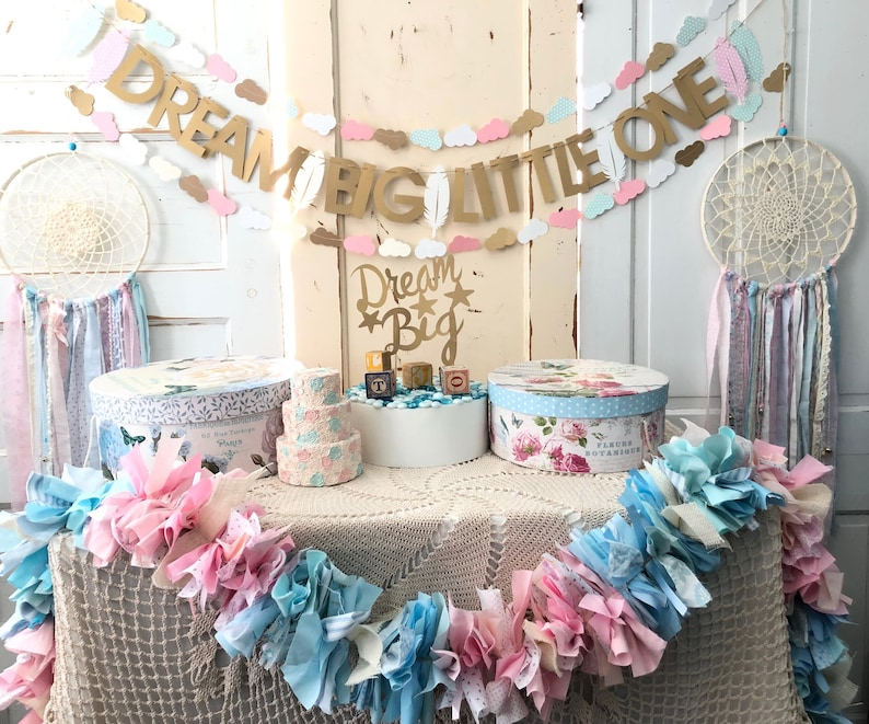 Baby Shower Decorations Package.  Pink and Blue Dream Big image 0