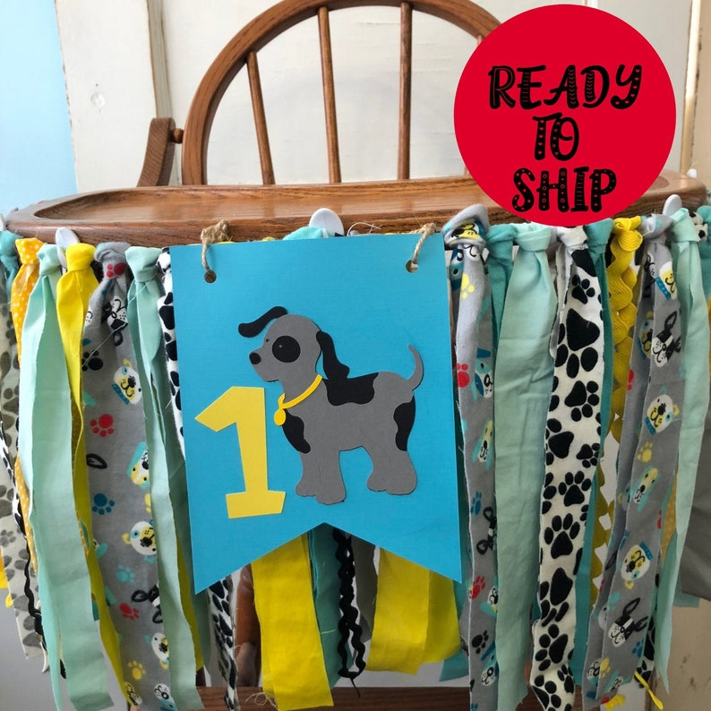Puppy Dog High Chair Banner.  Blue Yellow Gray One High Chair image 0