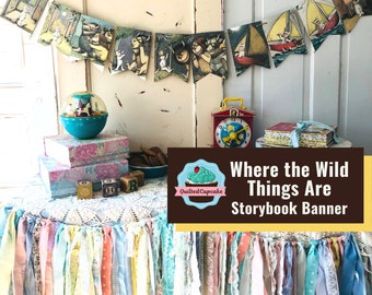 Where the Wild Things Are Book Page Banner.  Where the Wild Things Are Garland. 12 Pennants for Baby Shower, Birthday Party READY to SHIP